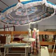 parasol franges toile doublée